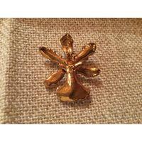 Брошь- кулон Живая орхидея позолота клеймо