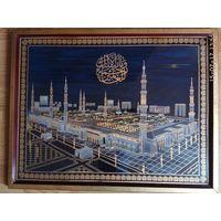 Картина на ткани (под стеклом в багете).  Аль Набави (Мечеть Пророка) в Медине