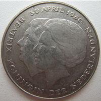 Нидерланды 1 гульден 1980 г. Передача трона (d)
