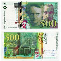 Франция. 500 франков (образца 1994 года, P160a, aUNC)