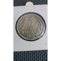 Литва 5 литов 1925 серебро