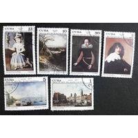 Куба 1977 г. Картины Национального Музея. Живопись. Культура. Искусство, полная серия из 6 марок #0071-И1P16