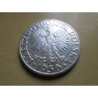 5 злотых, Польша 1936 г., кораблик, серебро