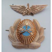 Кокарда на фуражку и эмблема на тулию фуражки гражданской авиации Республики Беларусь, 90-е  начало 2000-х годов