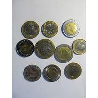 Набор монет биметалла 10шт