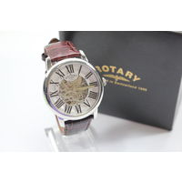 Механические Rotary GLE000015/21S Gents Skeleton Dial Automatic Leather Strap Watch RRP 450, Оригинал