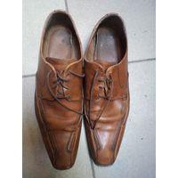 Крепкие кожаные туфли б/у, 45 размер