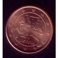 1 евроцент 2017 год Литва 2