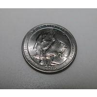США 25 центов (квотер) Южная Дакота, гора Рашмор 2013