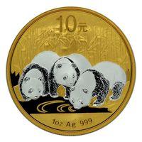 "RARE Китай 10 юаней 2013г: ""Панды"" REVERSE GILDED. Монетa в капсулe; подарочном футляре; сертификат. СЕРЕБРО 31,10гр. (1 oz)."