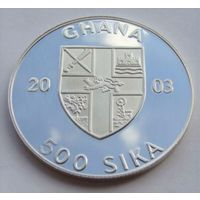 """Гана. 500 сика 2003 год UC#205 """"Факел.Олимпийские игры 2004 год в Афинах"""""""