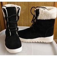 Ботинки черные, Китай, р.37, идут на р.36, зимние с мехом, новые