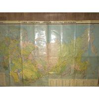 Карта СССР. Размер 220см на 145см -на всю стену.80-е г.