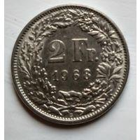 "Швейцария 2 франка, 1968 ""B"" - Берн, Швейцария  2-13-3"