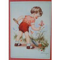 Посадка цветка. Дети. Германия. 1950-е. Чистая.
