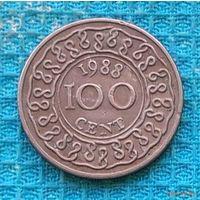 Суринам 100 центов 1988 года. Герб Суринама.