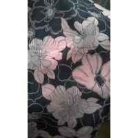Ткань черная в цветы