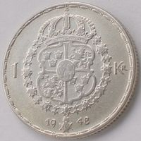 Швеция, 1 крона 1948 года (TS), KM# 814, Ag 400/ 7 грамм, Gustaf V, РАСПРОДАЖА