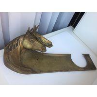Старинный письменный набор с головами лошадей Бронза