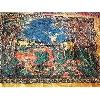 Большой плюшевый ковер СССР с оленями