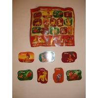 Киндер Магниты на холодильник 2-х сторонние набор 7 шт из серии Король лев +вкладыш к серии