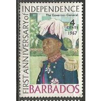 Барбадос. Генерал-губернатор В.Скотт. 1967г. Mi#266.