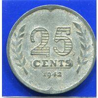 Нидерланды 25 центов 1942 , цинк , 2-я Мировая