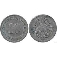 YS: Германия, Рейх, 10 пфеннигов 1889G, KM# 4