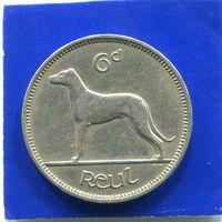 Ирландия 6 пенсов 1955 , Ирландская Борзая собака.