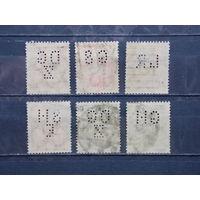 Германия. Веймарская республика. Марки-перфины (Ж.д. компания). 1921 год. 6 марок.