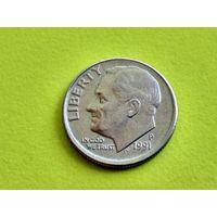 США. 10 центов (1 дайм) 1991 P (Roosevelt Dime). Брак, смещение.