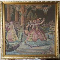 Гобелен старинный Придворные сцены   в раме  Франция