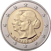 Монако 2 евро 2011 Свадьба Князя Монако Альбера II и Шарлин Уиттсток