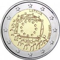 2 евро Латвия 30 лет флагу Европейского саюза . Из ролла