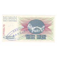 Босния и Герцеговина 1000 динаров 1992 года. Надпечатка SARAJEVO. Состояние UNC!