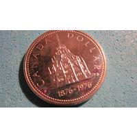 Монета Канада 1 доллар серебро 1976 г.