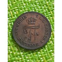 Германия Мекленбург Шверин 1 пфенниг 1872 г ( единственный год выпуска )