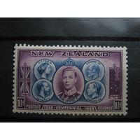 Марка - Новая Зеландия, известные люди, короли и королевы, флаги