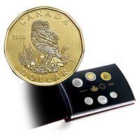 """Канада набор 6 монет 2018г. """"Роющая сова"""". Монеты в """"книге - футляре""""; сертификат; коробка. Трёхслойная никелированная сталь."""