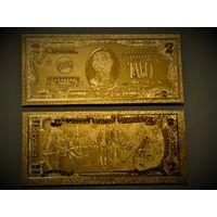 "США, 2 доллара 1976 год,  ""Банкнота Золото-фольга""."