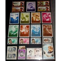 """Красивый лот КЕННЕДИ включая большие марки сет 9 шт. + стандарт сцепка (сравните размер марок), сет чистых марок """"ПАМЯТИ JF KENNEDY 1965"""""""