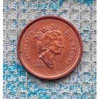 """Канада 1 цент 2002 года. """"50 лет правлению Королевы Виликобритании Елизаветы II"""". Кленовый лист."""