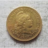 5 песо 1884 Аргентина - низкий тираж!
