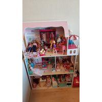 Домик для кукол барби, 3 этажа с доп.мебелью, куклами, одеждой, аксессуарами