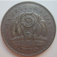 Маврикий 5 рупий 1987 г. (g)