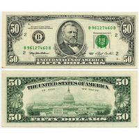США. 50 долларов (образца 1993 года, B, Нью-Йорк, P494)