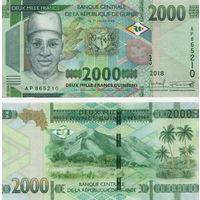 Гвинея 2000 франков образца 2018 года UNC  (новинка)
