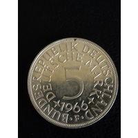 5 марок ФРГ 1966 года F  серебро 0,625. 40
