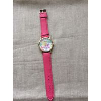 Часы , цветочный принт циферблата, розовый цвет ремешка
