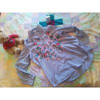 Рубашка в стильную полоску вышивкой р.Л